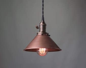 Aged Copper Pendant - Industrial Pendant Light - Copper Shade - Ceiling Light - Industrial Lighting - Edison Bulb Pendant Lamp