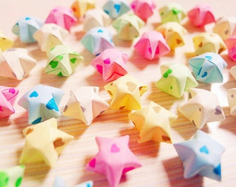 Sweet Heart Origami Lucky Stars - Hearts Wishing Stars/Table Decor/Gift Enclosure/Party Supply/Baby Shower