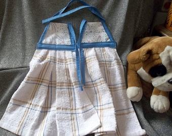 Hanging Kitchen Terry Tie Towels, Patriotic Fireworks Stars Print Top
