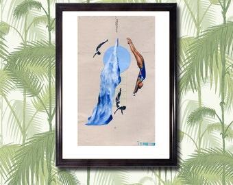 OLYMPIC DIVING - Art Print, Collage, Vintage, Blue, Aquatic, Diving, Cut Paper, Graphics