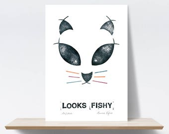 Cat, Fish, Mustache, Looks Fishy. Stamps, Embroidery. Limited edition, Art print A4, illustration, 21x30 cm. Fine art textured paper 300 gr.