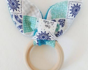Rattle with bells for baby blue bunny ears.