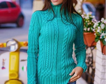 Turquoise Knitted sweater for stylish women Warm sweater long sleeves Every day sweater Autumn sweater Winter sweater