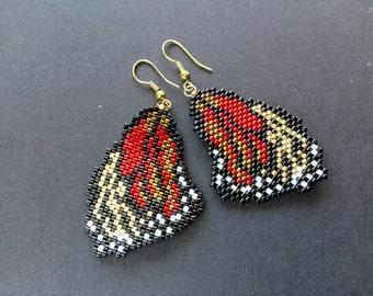 Handmade jewelry, beaded jewelry, beaded earrings, butterfly earrings, dangle earrings, gift for her, beadwoven earrings, long earrings