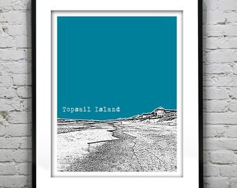 Topsail Island Poster North Carolina Art Print Skyline NC