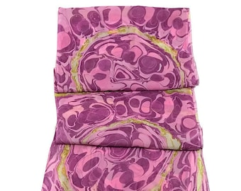"""Special Designed One-of-a-kind Handmade Marbled Silk Scarf 11""""x60"""" - Phoebe Mae"""