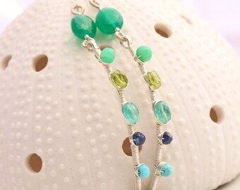 Gemstone Stick Earrings - Green Onyx, Chrysoprase, Peridot, Sapphire, Turquoise, Moss Aquamarine, Argentium Sterling Silver - Sahara
