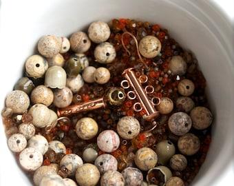 Orange Brown Copper destash Bead Mix #14 - 100 grams - Jasper stone