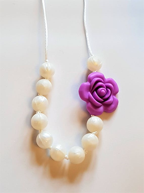 Child's Necklace with a Rose and Pearls