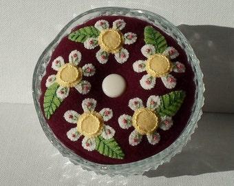 Handmade Felted Wool White Daisies Burgundy Pincushion