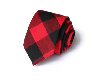 Buffalo Plaid Mens Necktie~Cotton Necktie~Red and Black Necktie~Buffalo Check~Buffalo Check Tie~Christmas Tie~Valentines Day Gift~Xmas Tie