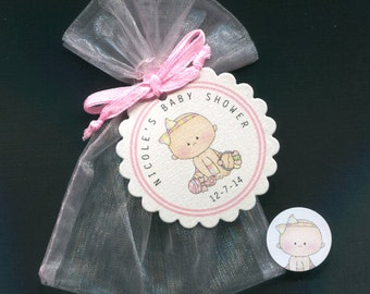 Personalized Baby Girl Baby Shower Favor Candy Bags, Baby Girl With Toys, Includes Tags, Candy Stickers, Pink Organza Bags, Set Of 20