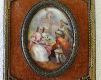 Miniature Portrait Painting of Court Scene, Ladies Playing Chess, Hand Painted, French? Courtiers