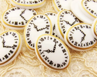 Vintage Clock Face Cabochons 18x13mm Oval Watch Plastic Painting Cab Flat Back Stone - 2