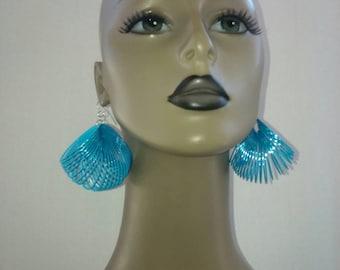 Unique Springy Turquoise Blue Plastic Earrings , Fashion Earrings, Women's Earrings, Round Earrings, Women Earrings