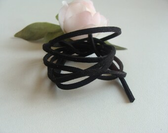 the meter 2 * 2 mm Black Suede cord
