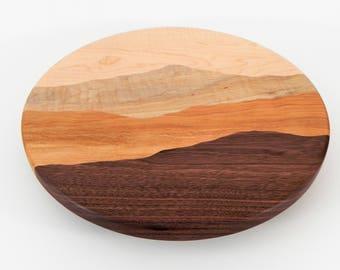 Mountain View Lazy Susan /Curly maple, Curly birch, Black walnut, Cherry/