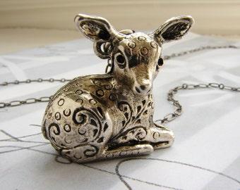 Deer Locket Necklace, fawn necklace, animal necklace, bambi necklace, fawn locket, solid perfume locket neckalce gift for her