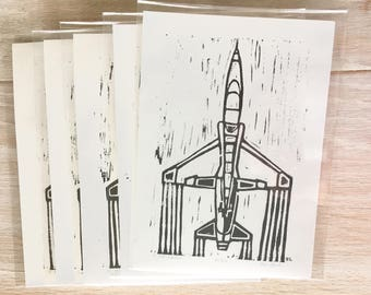 Air Force Trainer T-38 Original Block Print