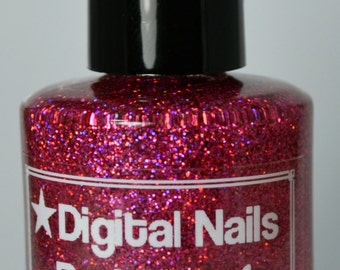 Red Dwarf, a salmon/coral leaning light red ultra holographic Space Glitter by Digital Nails