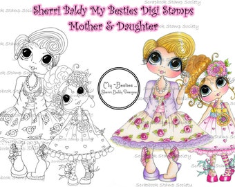 INSTANT DOWNLOAD digitale Digi Stamps Big Eye Big hoofd poppen Digi moeder en dochter Besties door Sherri Baldy