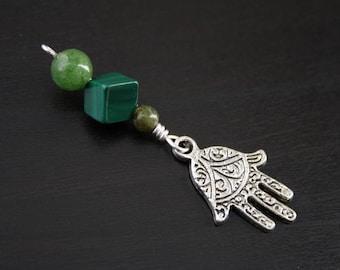 Jade Malachite Green Serpentine Hamsa / Hand of Fatima bead - Blessing, baby shower gift, pregnancy gift, doula gift, malachite pendant