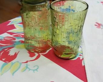 Soft pine green vintage juice glasses set of 2.