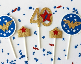 Wonder Woman, Wonder Woman Cupcake toppers, Wonder Woman Birthday, Wonder Woman party, Super hero party, girl super hero,Wonder woman topper