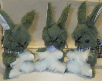 Grey Baby Rabbit Child Ornaments Grey Toy Bunnies Nursery Decor Pram or Cot Toys Bedroom Decorations Unbreakable Toy Shower Basket Fillers