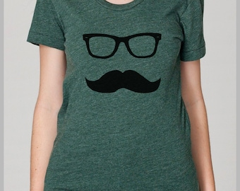Women's Mustache T shirt - American Apparel Mustache Wayfarer T shirt S, M, L, XL 8 Colors