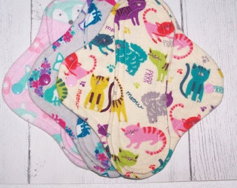 Set of 3 Flannel  panty liners with wings 8 inches in assorted animal prints