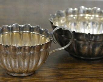 antique silver plate milk jug and sugar bowl