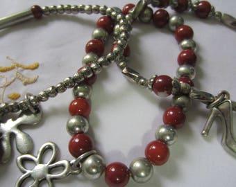 Set of Three Silver Beaded Bracelets Vintage