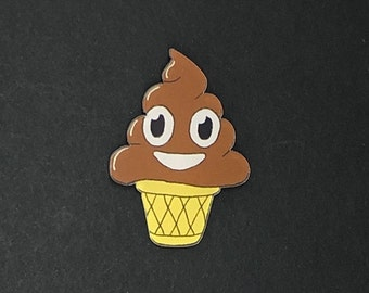Chocolate Ice Cream / Poop Emoji badge