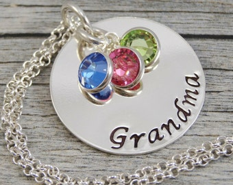 Ready to ship - Hand Stamped Jewelry - Personalized Jewelry - Grandma Necklace - Sterling Silver Necklace - Three Birthstones