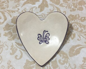 Heart bowl ,Ceramic heart bowl, Ring dish, Rings bowl, Teabag holder, Jewelry dish, Valentine, Cookies plate, Butterfly heart, Purple heart