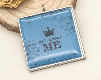 Picture  Pendants,  1pc, 30x30mm, All About Me, Metal Pendant - C414