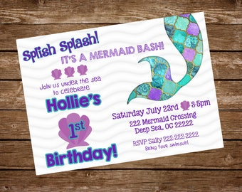Mermaid Birthday Invitation, Mermaid Birthday, 1st Birthday, Under the Sea Birthday, Purple and Teal