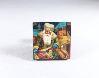 Santa Pin, Christmas Pin, Father Christmas, Santa Claus Pin, Santa Brooch, Christmas Brooch, Holiday Pin, Christmas Gift, Gift for Her
