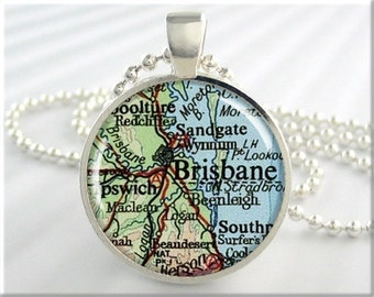 Brisbane Map Pendant, Resin Charm, Brisbane Australia Map Necklace, Picture Jewelry, Round Silver, Gift Under 20, Map Charm 702RS