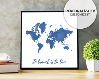 Blue Map World Poster Klein 23, 30, 40 and 50. Custom text. Ideal sheet for decoration or as a personalized gift.