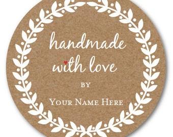 Handmade with LOVE Stickers, Custom Circle Sticker, Custom Jar Label Set of 24