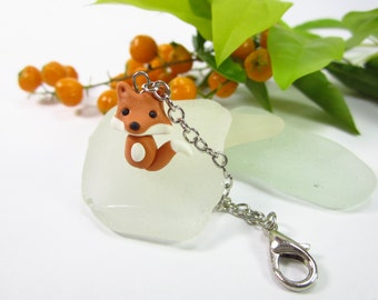 Fox Planner Charm, Planner accessories, animal lover gifts for her women, bag zipper pull polymer clay friend gifts, woodland notebook charm