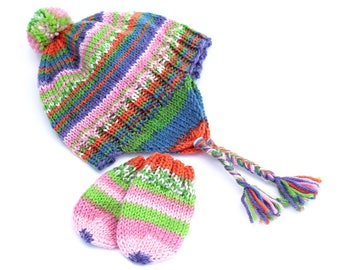 Earflap Hat and Thumbless Mitten Set. Newborn to 6 Months. Boy or Girl. Warm Striped Wool Aviator Hat. Knit Cap