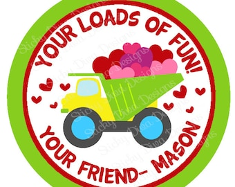 PERSONALIZED VALENTINE STICKERS - Boys Dumptruck  - Round Gloss Sticker Labels