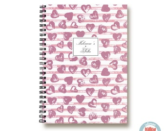 Bullet Journal Notebook - Sweetheart Pink Hearts - Custom Notebook  Journal Sketchbook Spiral Notebook Schrift Recipe Book School Gift 1N