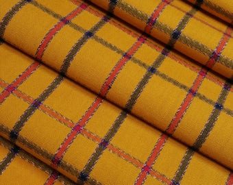 Vintage wool kimono fabric- mustard yellow plaid with metallic silver- by the yard