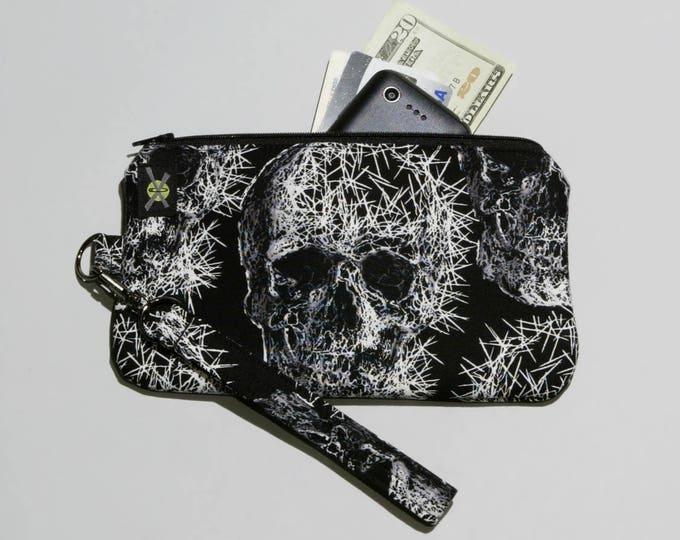 Shattered Skulls Phone Zipper Wristlet, Fabric Clutch, Zipper Pouch, Detachable Strap, Black White, Small Purse