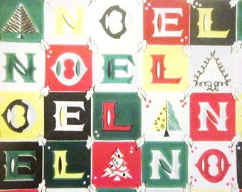 Vintage Wrapping Paper - Noel Gift Wrap - Cut Sheet Full Size