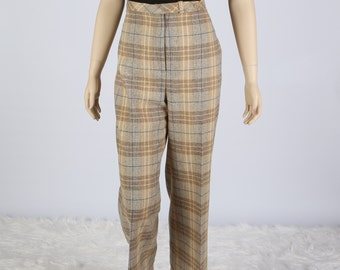 1970's Personal by Lesley Fay Wool Blend Wide Legged Pants, Fully Lined, Great condition, Size 16, Tan Plaid with Blue Highlight,  Front Fly